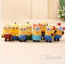Wholesale Line Dolls For Free - Wholesale-Despicable Me 2 movie Precious Milk Dad UPVC lined vivid minion figure doll toy gifts for kid 8pcs lot free shipping