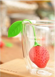 Wholesale Spice Tools - 2016 Hot!(10 pieces lot)cute Silicone Strawberry Design Tea Strainer Herbal Spice Infuser Filter Tools