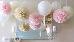 "Wholesale Wholesale Tissue Flowers - Wholesale-Artificial Flower Wedding Decoration free Shipping 50 Pcs 10"" 25cm 26colors Paper Tissue Pom Poms Bouquet Flower Balls Shower"