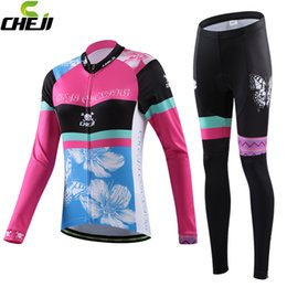 Wholesale Girls Bike Pants - 2016 Newest Design Winter Warm Long Sleeves Reflective Stripe Cheji Girl Cycling Clothes MTB Lady Bike Bicycle Jersey Sets Suit Padded Pants
