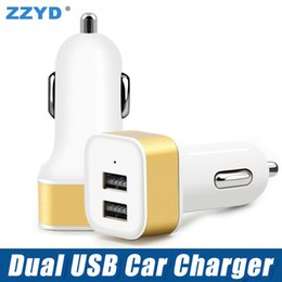 Wholesale Wholesale Cellphone Chargers - ZZYD Metal 2.1A Dual USB 2 Port Car Charger Adapter Portable Cellphone Charging For Tablet iP 6 7 8 Samsung S8 Phone