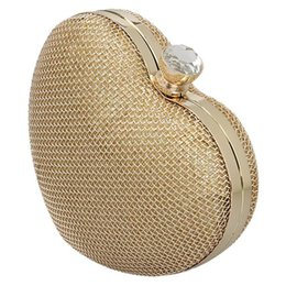 Wholesale Solid Gold Beads Wholesale - Ladies' Clutch Heart Shape Evening Bag Party Bag With Chains,s Bridesmaid clutches Evening purses handbags Ceramic beads Diamond