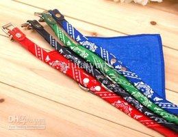 Wholesale Leather Bandana Dog Collar - wholesale- New Style Adjustable Pet Dog Cat Bandana Scarf Collar Neckerchief Brand New Mix Colors 1000pcs 45*2CM WY79 1000P