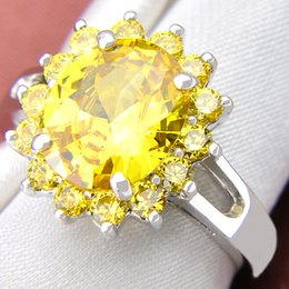 Wholesale Sterling Silver Rhinestone Rings - 5 Pieces 1 lot Lucky Shine Friend Gift Dazzling Full Fire Citrine Crystal 925 Sterling Silver Rings Russia American Australia Wedding Rings