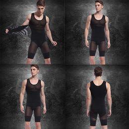 Wholesale Spandex Bodysuits - Mens Spandex Bodysuits (Vest+Pants) Hot Slimming Corset Waist And Butt Shapers Male Training Belts Body Girdles Underwear d2526