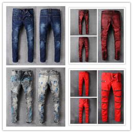 Wholesale Painted Jeans - 2018 Brand jeans Mens Straight Ripped holes Straps Denim Bike jeans Fashion Designer Pants Slim Fit blue Trousers denim pants