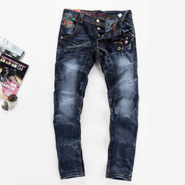 Wholesale Nail Softeners - Top Fashin Men Casual Brand Nail washed Biker Jeans Cool True Denim Pants Calca Pantalones Vaqueros Hombre men's Trousers