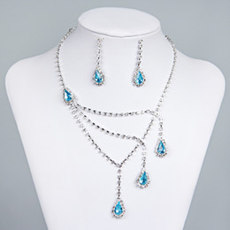 Pendientes de clip de collar online-Best Selling Unique Wedding Bridal Bridesmaids Rhinestone Necklace Earrings Jewelry Set Prom En Stock Hot Sale 15015a