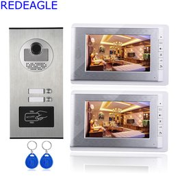 Wholesale Apartment Door Phone - Two Unit Apartment 7 inch LCD Video Door Phone Intercom System + RFID Access Outdoor Nihgt Vision Camera for 2 Family