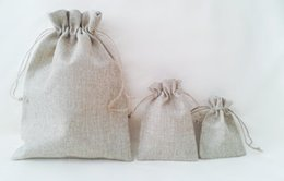 Wholesale Virgin Paper Bag - 100pcs 8*11cm small Burlap Bags with Drawstring wedding birthday Candy Gift favor bags Thank You Rustic Shabby Chic Candy Bags