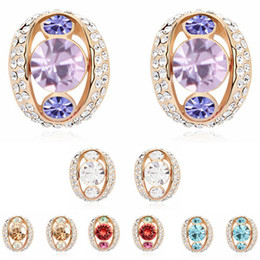 Wholesale Swarovski 18k Gold Earrings Studs - Fashion 18k Gold Plated Earrings For Women Jewelry Designer High Quality Stud Earrings made with Swarovski Elements 15586