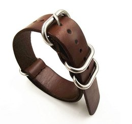 Wholesale 18mm Leather Watch Band - Wholesale- 1pcs 18MM 20MM 22MM 24MM Nato strap genuine leather coffee color Watch band NATO straps zulu strap watch straps