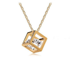 Wholesale Indian Cube - New Women Necklace Fashion High Quality Zircon 18K Gold Zircon Crystal Wedding Cube Pendant Necklace Women Jewelry Christmas Gift