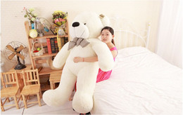 Wholesale Huge Teddy Bear Gift - Wholesale-New Hot 100CM Teddy Bear White Giant Big Cute Plush 100% Cotton Huge Soft Toy Gift#53443