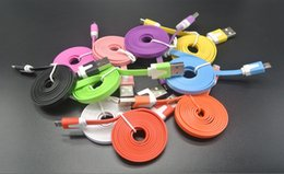 Wholesale V8 Charger Noodle - New Best Flat Noodle Micro V8 USB Cable Sync Data Colorful Charger Cord 1M 2M 3M for Samsung S6 S7 HTC Phone Universal Good High Quality