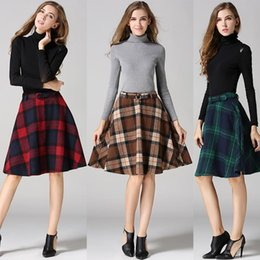 Wholesale Wool Skirts Vintage - Women Winter Warm Fashion Skirts Retro Midiskirt Waisted Wool Plaid Skirt A-line England Skirt Casual Elegent Waomen Wear