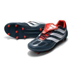 Wholesale limited soccer cleats - With Box 2017 Predator Precision Remake FG Cleats Blue Red Soccer Shoes Limited Edition Beckham Mania Football Boots with box