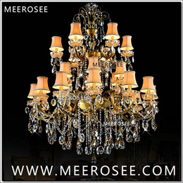 Wholesale Brass Lamp Arms - Large 3 Tiers 24 Arms Crystal Chandelier Light Fixture Antique Brass Luxurious Crystal Lustre Lamp MD8504 L24 D1150mm H1400mm