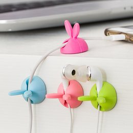 Wholesale Cable Drop Wire - 4PCS Lot Rabbit Cable Drop Clip Desk Tidy Organiser Wire Cord Lead USB Charger Holder Free shipping
