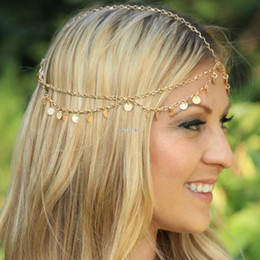 Wholesale Cheap Chain Headbands - cheap-fine New Women Lady Gold Metal Charm Head Chain Headband Jewelry Headpiece Hair Band