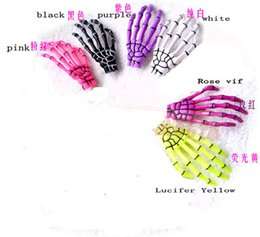 Wholesale Hand Bones Hair - Ladies skull hand Hair Clips Bobby Pins Hairpin Barrette women accessories Zombie Skeleton Hand Bone Claw Hairpin 12pcs  lot 6mix colors