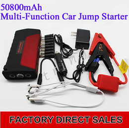 Wholesale High Capacity Usb Charger - 50800mAh Car jump starter High power capacity battery source pack charger vehicle engine booster emergency power bank dual usb Emergency