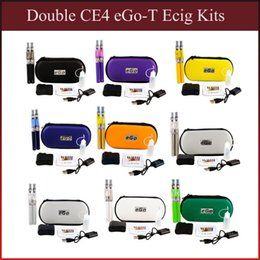 Wholesale Double Electronic Cigarette Case - Double eGo-T CE4 E Cigarette Starter Kits eGo-T Battery 650 900 1100mah CE4 Atomizer Electronic Cigarette Zipper Case vs evod mt3 x6