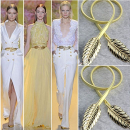 Wholesale Metal Belts Women - Hot Sale! Fashionable Women Belts Gold and Sliver Color Metal Leaves Elastic Waist Dress In Stock Strap Waistband Fast Shipping