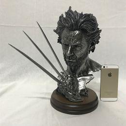 "Wholesale Super Hot Models Men - Hot 12"" Super Hero X-men Wolverine Bust model With Stand Hugh Jackman Resin Lmitation Bronze Statue Action Figure Collectible"