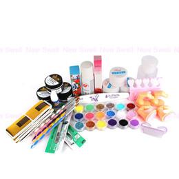 Wholesale pro acrylic powder nail kit - Wholesale-Nail Tool Yesurprise Pro Nail Art UV Gel Acrylic Powder Color Set w False Nail Tips Brushes Full Kit