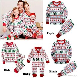 Wholesale Summer Clothes Home - Family Christmas Winter Outfits Jumpsuits Baby Clothing Papa Mama Kid Set Boy Girl Xmas Long Sleeve Deer Pajamas Adult two-piece Home Outfit