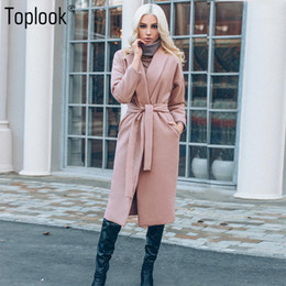 Wholesale womens pink wool coats - Wholesale- Toplook Pink Belt Wool Winter Coat Womens 2017 Solid Long Sleeve Pockets Long Winter Parka Cardigan Fashion Warm Overcoat Female