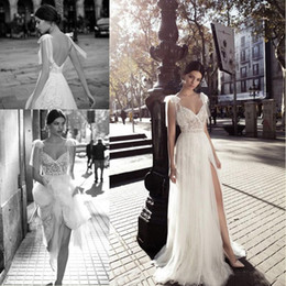 Wholesale side strap wedding dresses - Berta Bohemian Wedding Dresses 2017 Lace V-Neck Side Split Tulle Backless Illusion Bodice Spaghetti Straps robe de mariée Bridal Gowns