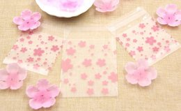 Wholesale Cookies Plastic Bag - Hot!100PCS Lot 3Sizes Lovely Pink Cherry Blossoms Cookie&Candy Bag Self-Adhesive Plastic Bags For Biscuits Snack Baking Package