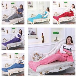 Wholesale Single Throw - Kids Blankets Mermaid Winter Sleeping Bag Knitting Boys Girls Throw Bed Wrap Air Conditioning Christmas Gifts 10 Style 90*50cm Free Shipping