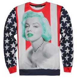 Wholesale Colorful Marilyn Monroe - Spring Autumn Europe US Fashion 3D Printing Hoodies Marilyn Monroe Sexy Print Streetwear Tops Pullover Sweatshirt Colorful Star Stripe hoody