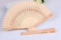 Wholesale Wholesale Fancy Accessories - Bridal Wedding Fans Chinese Wooden Fans Bridal Accessories Handmade 8'' Fancy Cheap Wedding Favours Small Gifts for Guests Ladies Hand Fans