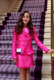 Wholesale Interview Outfits - 2017 Real Images Little Girls Pageant Interview Outfits Hot Pink Kids Girls Pageant Interview Suits Custom Made Two Pieces Knee Length Suits