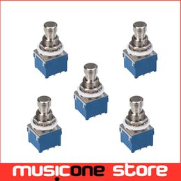 Wholesale Stomp Foot Switch - 5pcs Button Switch 3PDT 9-Pin Stomp Foot Pedal Switch True Bypass Blue with Silver MU0631