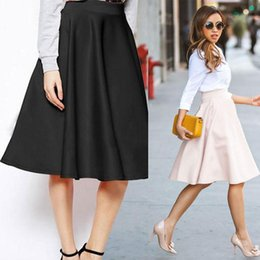 Black Knee Length Flared Skirt Online Wholesale Distributors ...