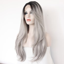 Wholesale Long Grey Wig Heat Resistant - Hairstar Long Natural Wave Hair Black To Grey Ombre wig Heat Resistant Fiber Synthetic Cosplay Wigs peruca pelucas