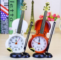 Wholesale Clock Table Living Room - Violin Shaped Table Clock Living Room Bedroom Simulation Violin Creative Instrument Alarm Clock Home Decoration Craft OOA3434