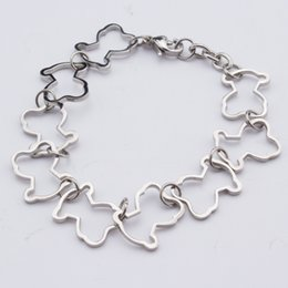 Wholesale Black Jewelry Designers - TL Unique Designer Stainless Steel Bear Bracelet Cute Bear Shape Chain Bracelets For Women Jewelry Gift