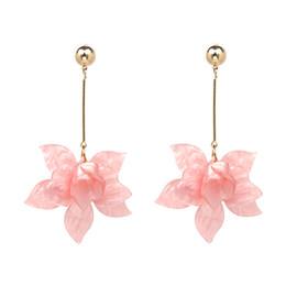 Wholesale Acrylic Flower Earrings - Wholesale Elegant Large Flower Earrings Korean Jewelry Fashion Acrylic Earrings for Women Lap Top Female Accessories 50105