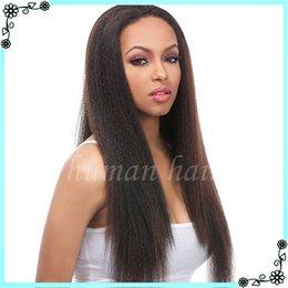 Wholesale Short Kinky Straight Wigs - NEW Virgin Brazilian Kinky Straight Full Lace Wig Glueless Kinky Straight Full Lace Human Hair Wigs For Black Women