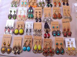 Wholesale Earring Flowers - Random mix 10 style 10Pairs lot Vintage Tibetan Silver Bronze Resin Gem drop Earings Dangle Earrings