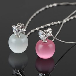 Wholesale Gemstone 925 Silver Pendant Jewelry - 2016 925 sterling silver Plated Clavicle Necklace Charm Small Apple Opal Pendant HOT Jewelry gemstone jewelry