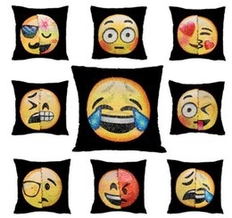 Wholesale Funny Pillow Cases - 40*40cm Emoji Cushion Cover Reversible DIY Sequin Mermaid Pillow Case Funny Changing Smiley Faces Decorative Pillowcase