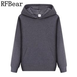 Wholesale Outlet Clothing - Wholesale- RFBear Brand new men casual Hoodies sweatshirt Solid color Print trend Fleece Cotton pullover coat warm Clothes Factory outlet