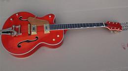 2019 linkshänder gitarren hohlkörper jazz Linkshänder Custom Shop Top-Qualität orange Falcon 6120 Semi Hollow Body Jazz E-Gitarre Chrom Hardware rabatt linkshänder gitarren hohlkörper jazz